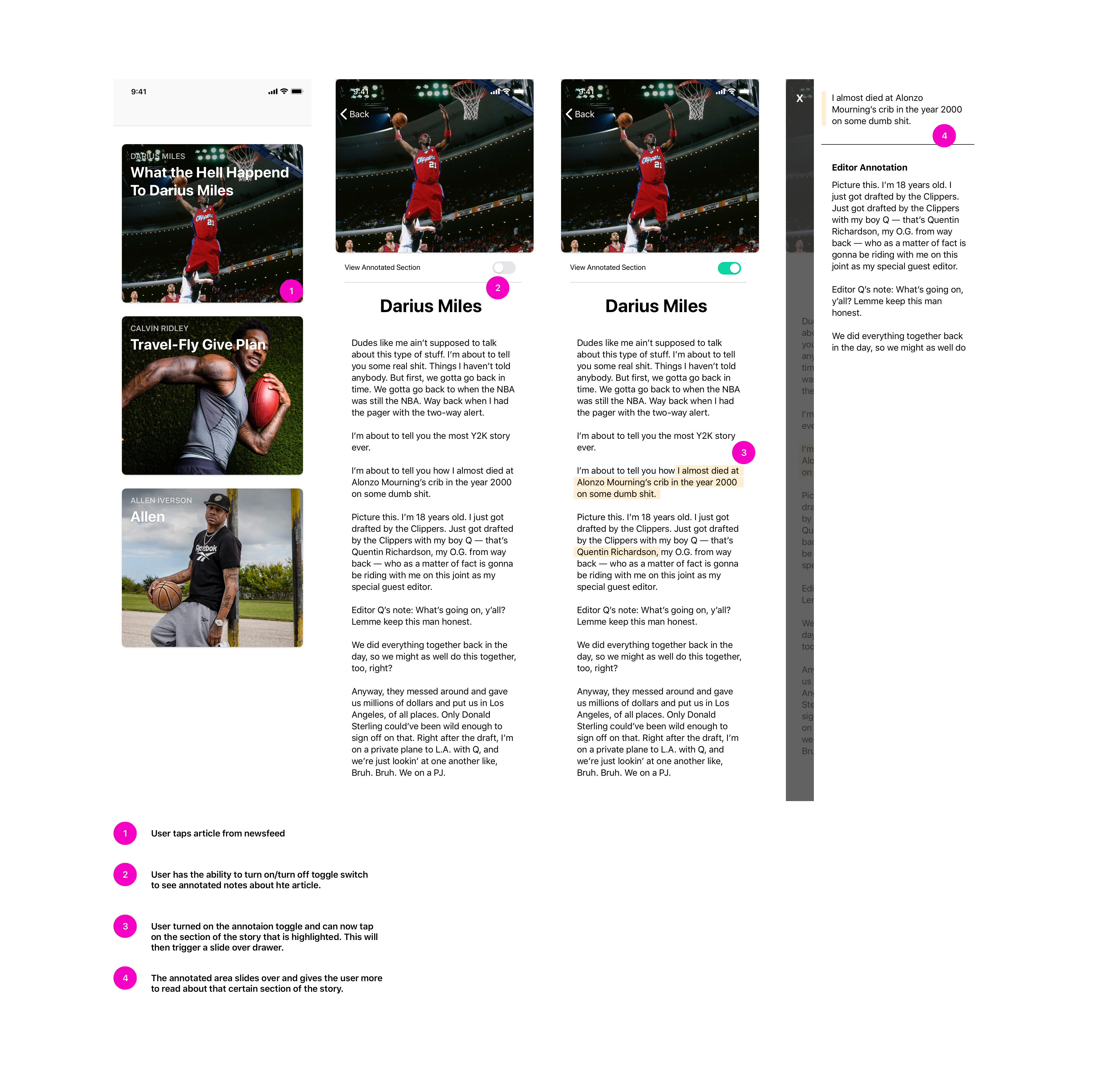 Annotated screen